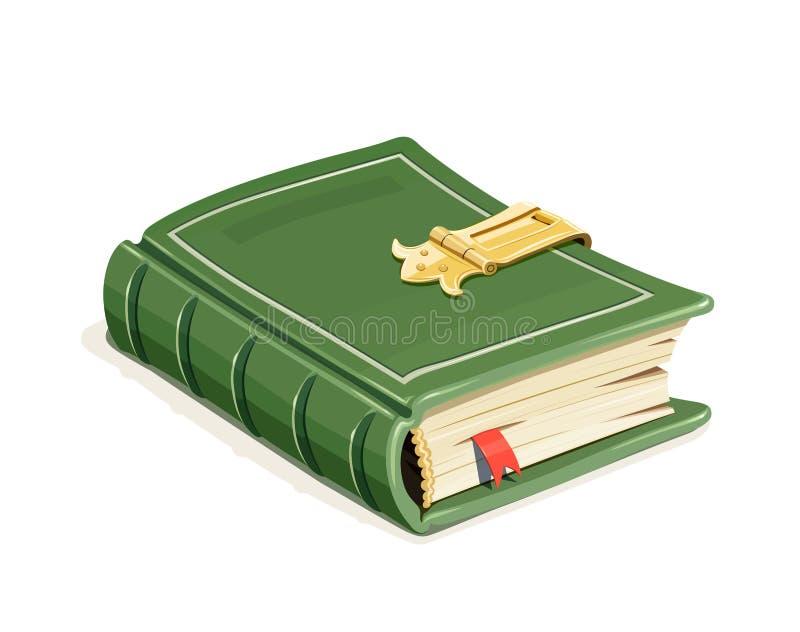 Grön tappningbok med låset stock illustrationer