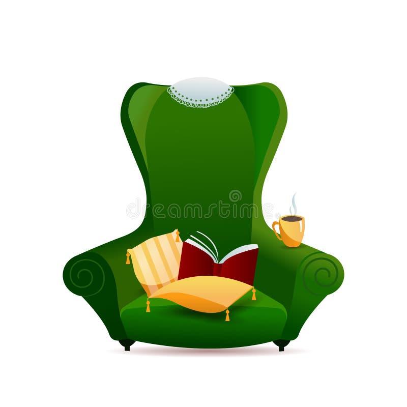 Gr?n tappningsoffaf?t?lj med den guld- kudden med tofsar och att sn?ra ?t servetten p? baksida av stol p? vit bakgrund lutning vektor illustrationer