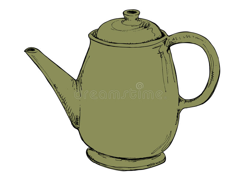 Grön tappningtekanna royaltyfri bild