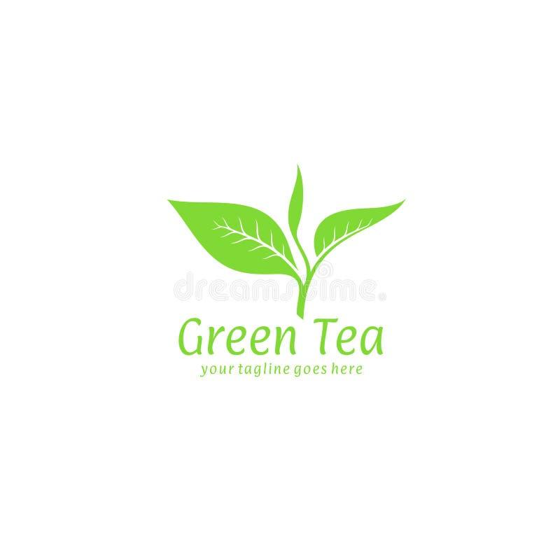 grön tea logo royaltyfri illustrationer