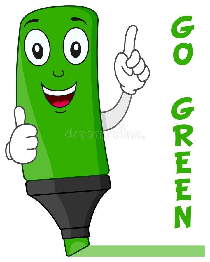 Grön tecknad filmHighlighter med tummar upp royaltyfri illustrationer