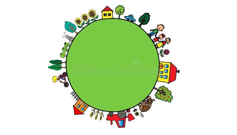Grön tecknad filmplanet med lantlig bygd på den royaltyfri illustrationer