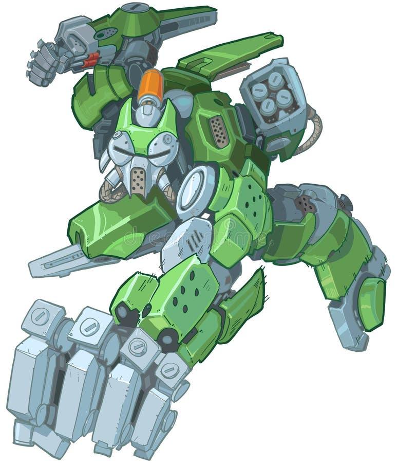 Grön tecknad filmsoldat Robot Punching Illustration för Humanoid vektor illustrationer