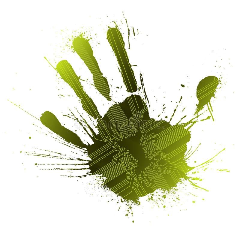 grön teknologisk handprintsplatter royaltyfri illustrationer