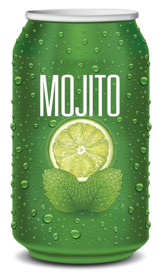 Grön tenn- can med mojitotext, limefruktskivan, mintkaramellsidor och många vattendroppar royaltyfri illustrationer