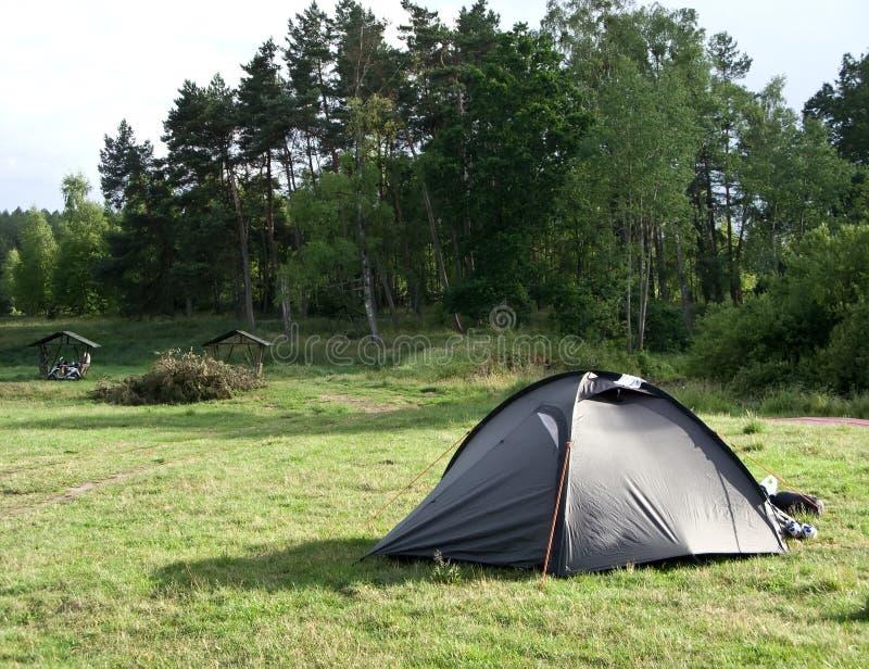 grön tent för fält arkivfoto