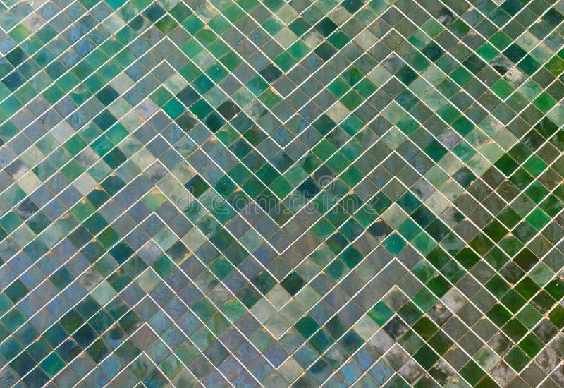 Grön textur för belagt med tegel golv royaltyfri fotografi