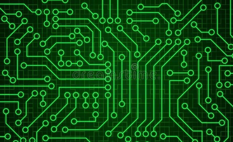 Grön textur för modell för strömkretsbräde Tekniskt avancerad bakgrund i pik royaltyfri illustrationer