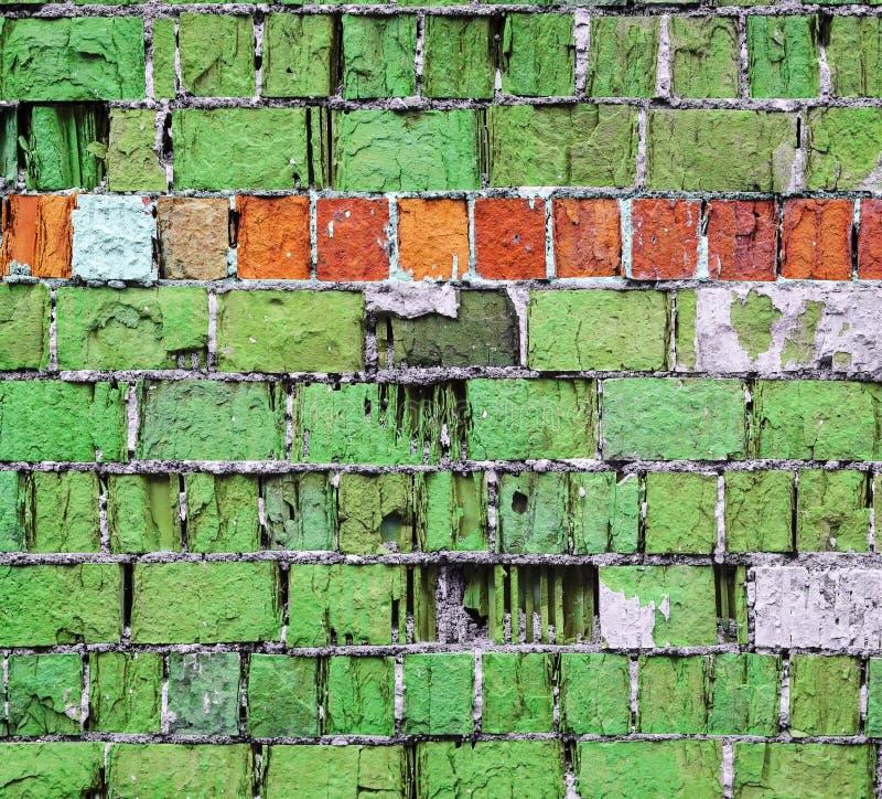 Grön textur för tegelstenvägg med horisontalbandet arkivfoton
