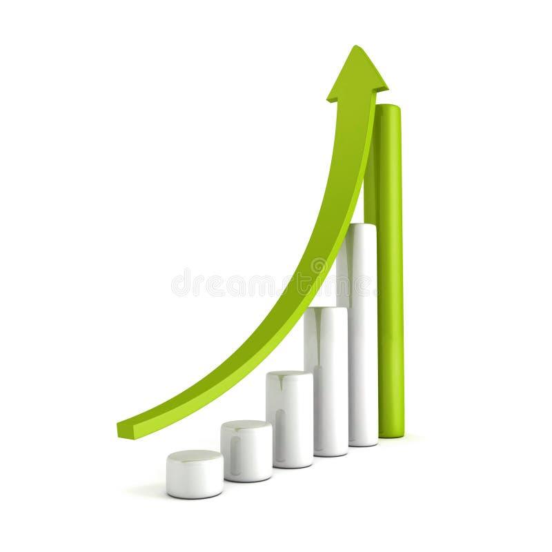 Grön tillväxt för affär för stångdiagram med stigning upp pil royaltyfri illustrationer