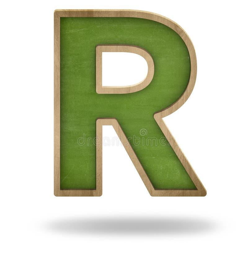 Grön tom formsvart tavla för bokstav R stock illustrationer