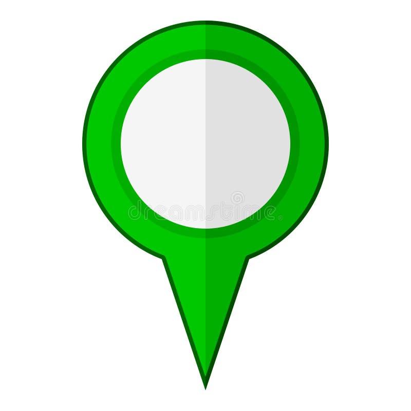 Grön tom GPS lägenhetsymbol som isoleras på vit vektor illustrationer