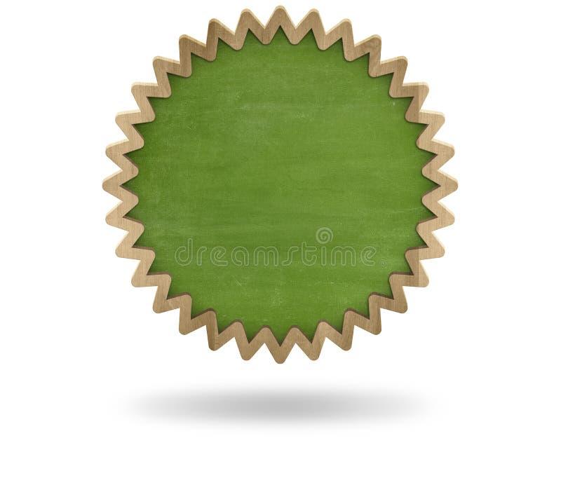 Grön tom kugghjulformsvart tavla med trä vektor illustrationer
