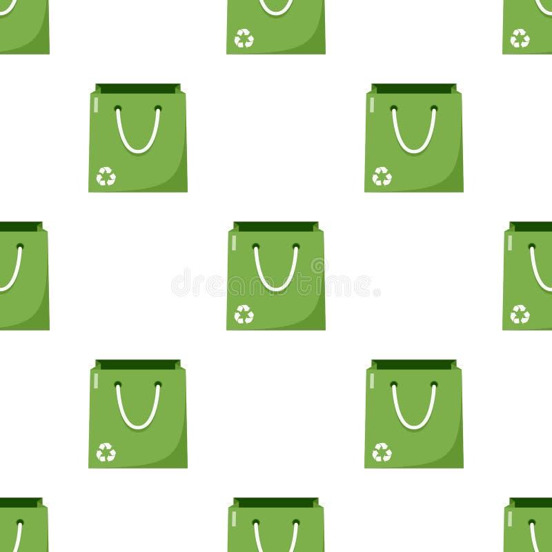 Grön tom sömlös shoppingpåse stock illustrationer