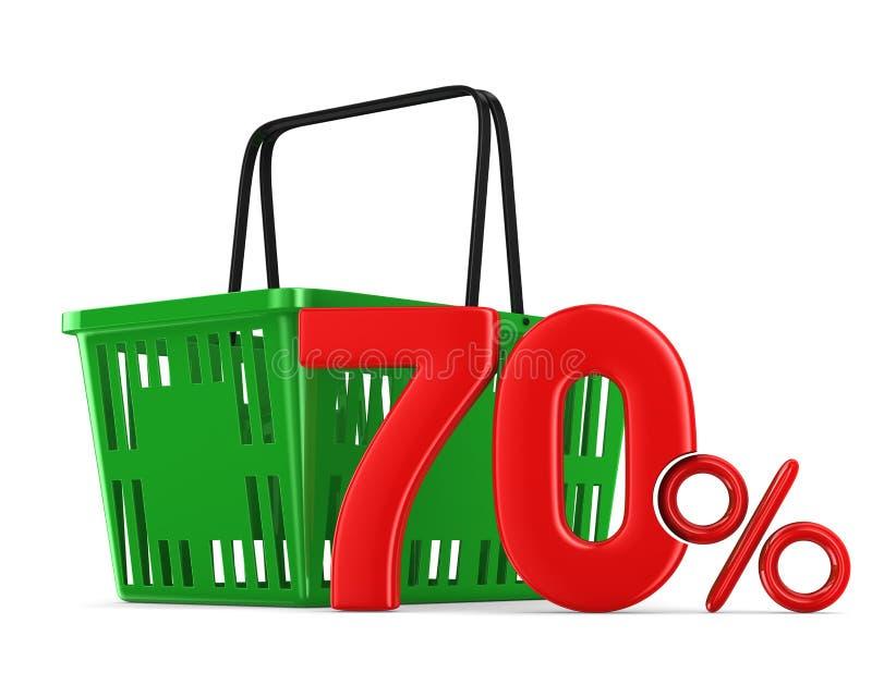 Grön tom shoppingkorg och sjuttio procent på den vita backgroen royaltyfri illustrationer