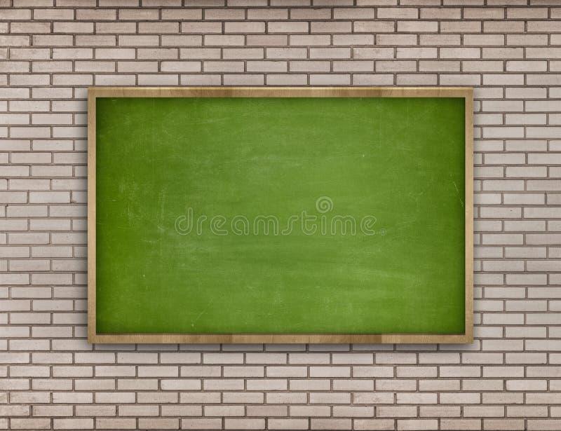 Grön tom svart tavla med träramen på tegelsten royaltyfri illustrationer
