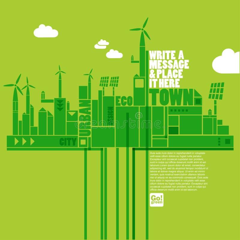 grön town för eco stock illustrationer