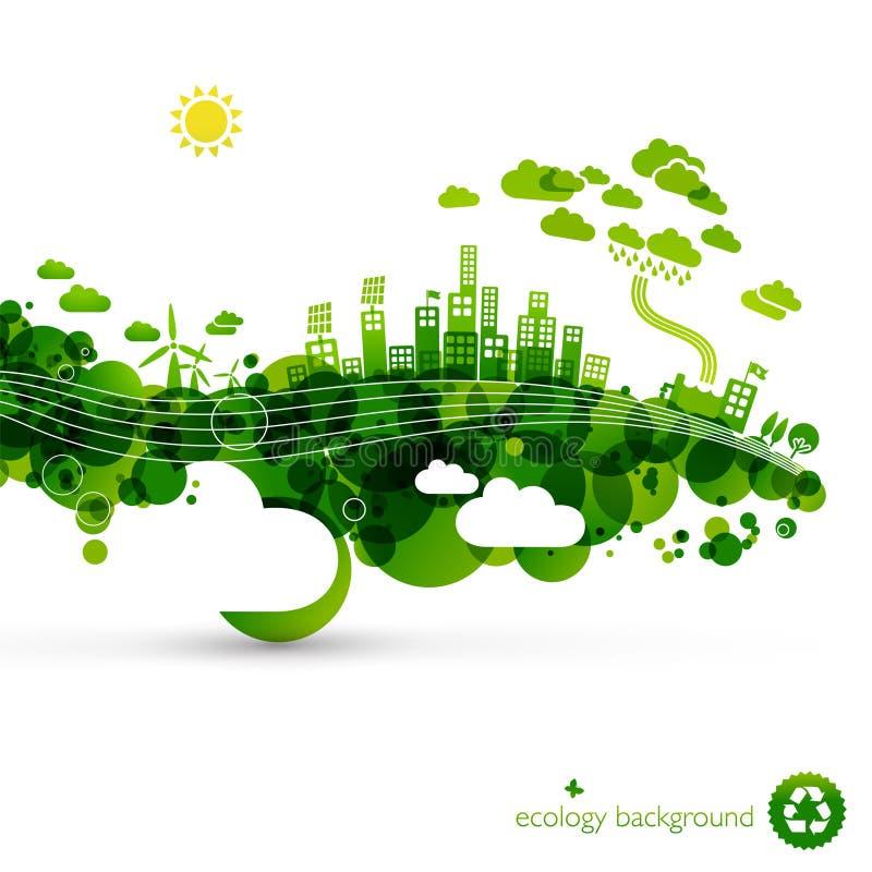 grön town för eco vektor illustrationer