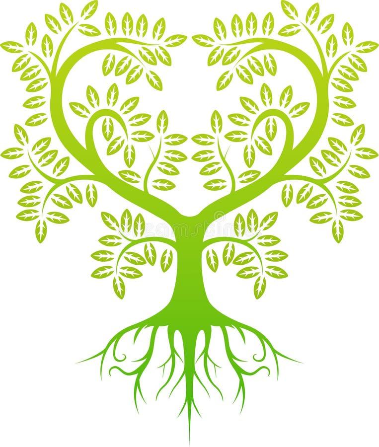 Grön trädkontur stock illustrationer