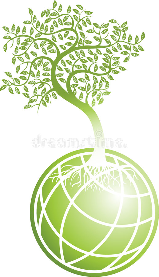 grön tree för jordklot stock illustrationer