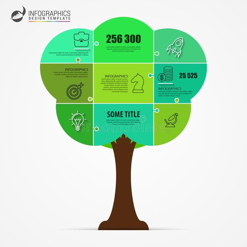 grön tree Infographic designmall Jigsaw vektor royaltyfri illustrationer