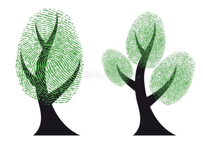 grön treevektor för fingeravtryck stock illustrationer