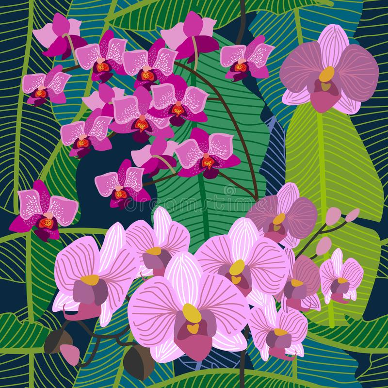 Grön tropisk bakgrund med blommande gula och purpurfärgade orkidér, ormbunkar och palmblad vektor illustrationer