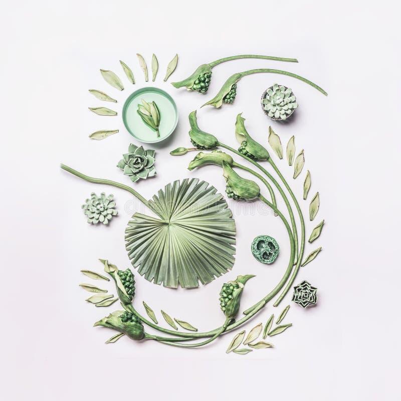 Grön tropisk sida- och krullningsblommasammansättning med vatten bowlar på vit bakgrund, den bästa sikten, den lekmanna- lägenhet arkivfoton