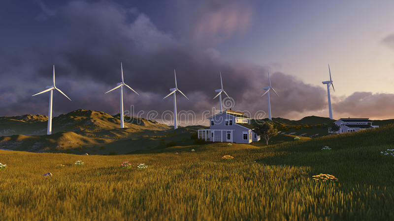 grön turbinwind för fält vektor illustrationer
