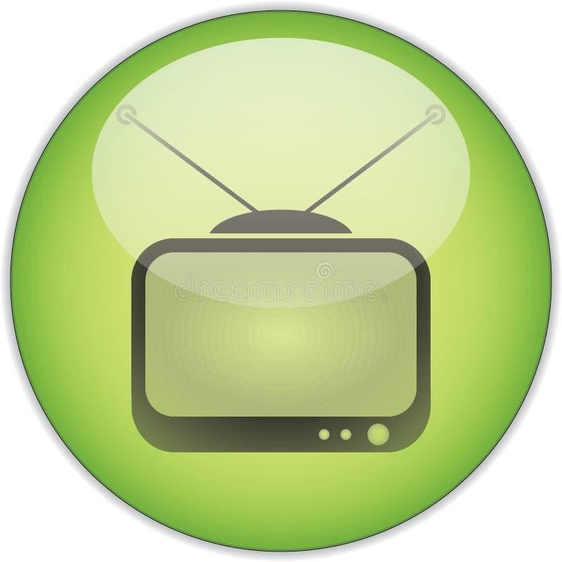 grön tv för knapp royaltyfri bild