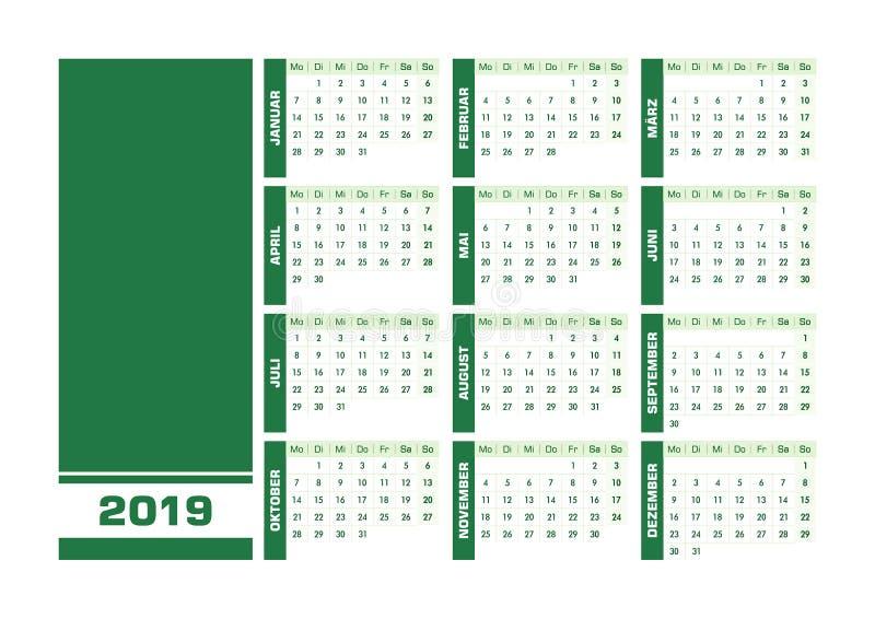 Grön 2019 tysk kalender royaltyfri illustrationer