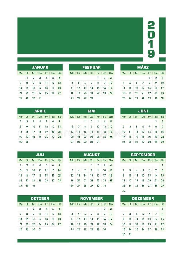 Grön 2019 tysk kalender vektor illustrationer