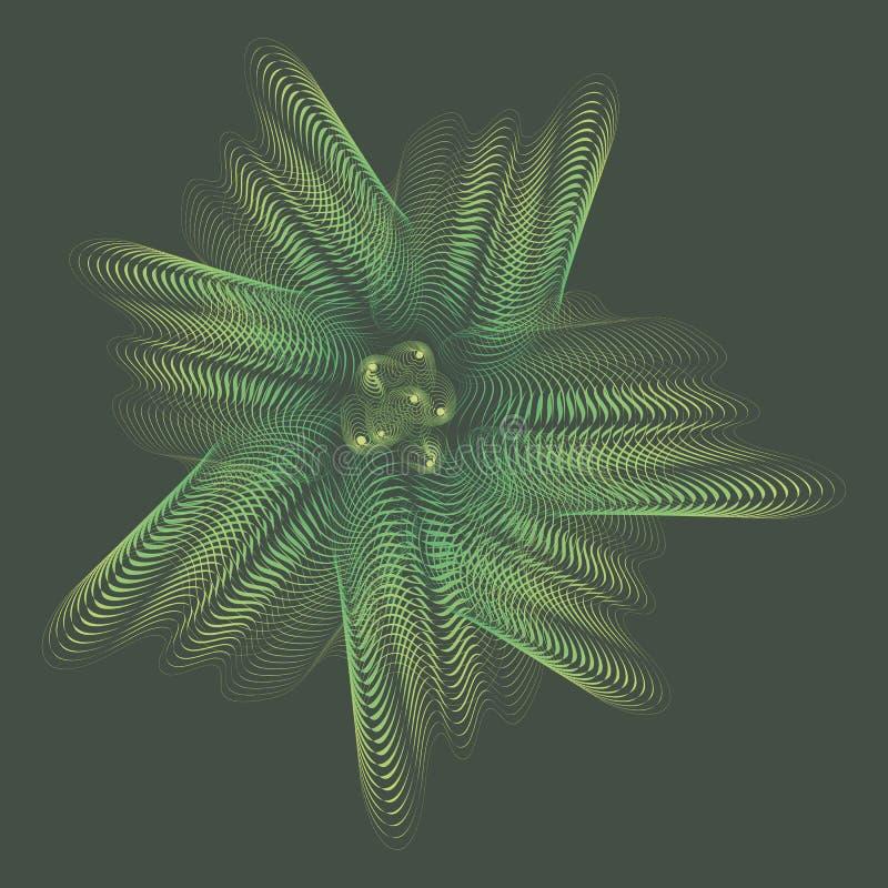 Grön undervattens- linjär genomskinlig spöklik regnbågsskimrande blomma stock illustrationer