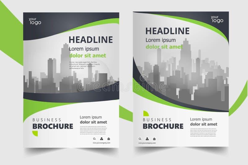 Grön uppsättning för mall för design för årsrapportbroschyrreklamblad stock illustrationer