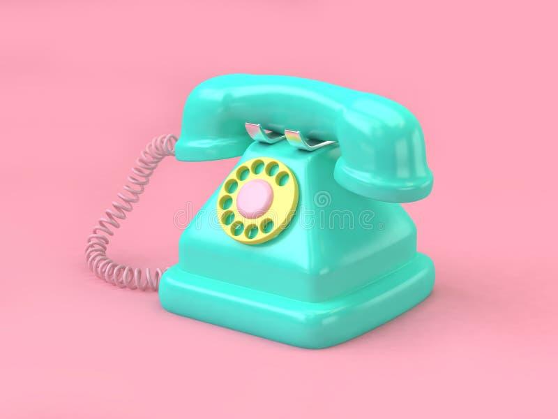 grön uppsättning för telefontecknad filmstil på minsta rosa bakgrund 3d att framföra teknologibegrepp vektor illustrationer