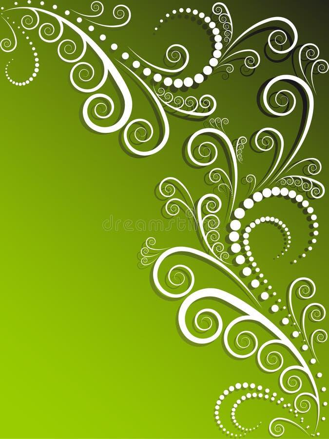 grön utsmyckad white för bakgrund royaltyfri illustrationer