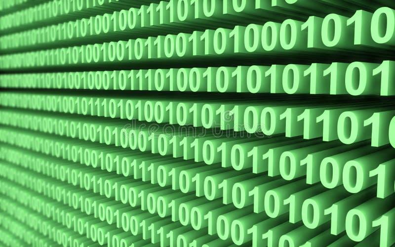 Grön vägg för binär kod stock illustrationer