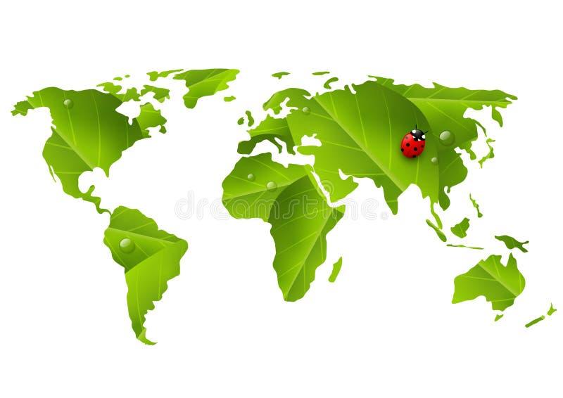 Grön världskarta med nyckelpigan stock illustrationer