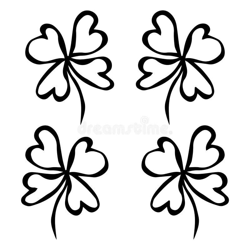 Grön växt av släktet Trifolium för fyra blad Lycka framgångsymbol Bra lycka Irländare Luch För Irland för helgonPatricks dag drag vektor illustrationer
