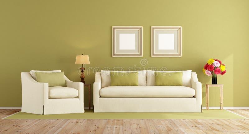 Grön vardagsrum i klassisk stil royaltyfri illustrationer
