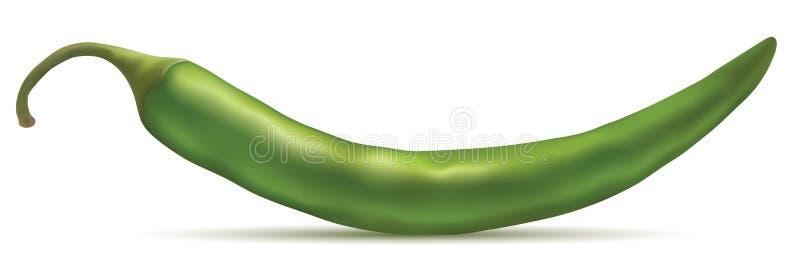 grön varm peppar för chili royaltyfri illustrationer