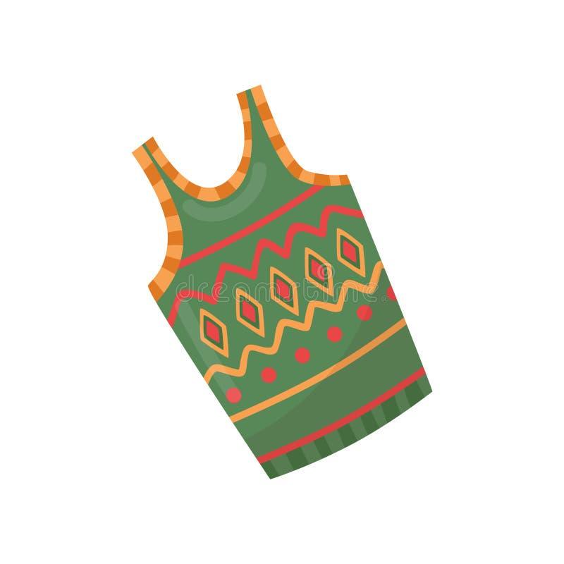 Grön varm woolen väst med den färgrika modellen Plagg för kall säsong clothing vinter Plan vektordesign stock illustrationer