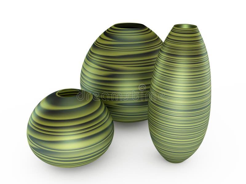 grön vase för illustration 3d vektor illustrationer