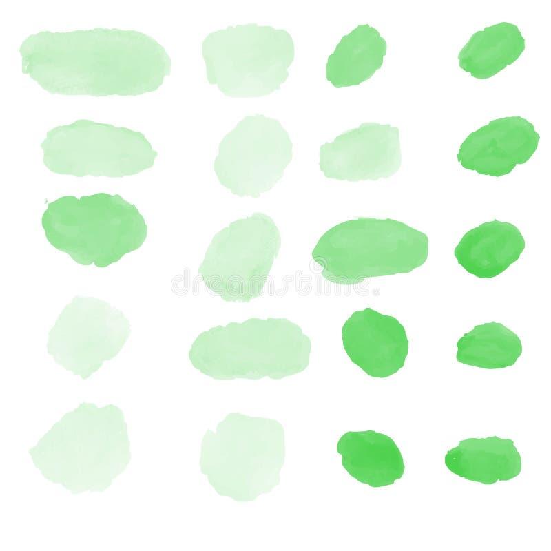 Grön vattenfärg borstar vektorsamlingen royaltyfri illustrationer
