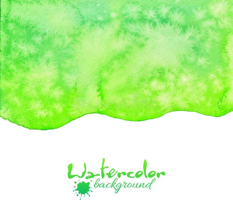 Grön vattenfärgvektorbakgrund stock illustrationer