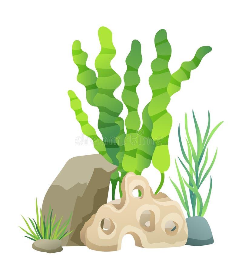 Grön vegetation av vektorillustrationen för djupt hav vektor illustrationer
