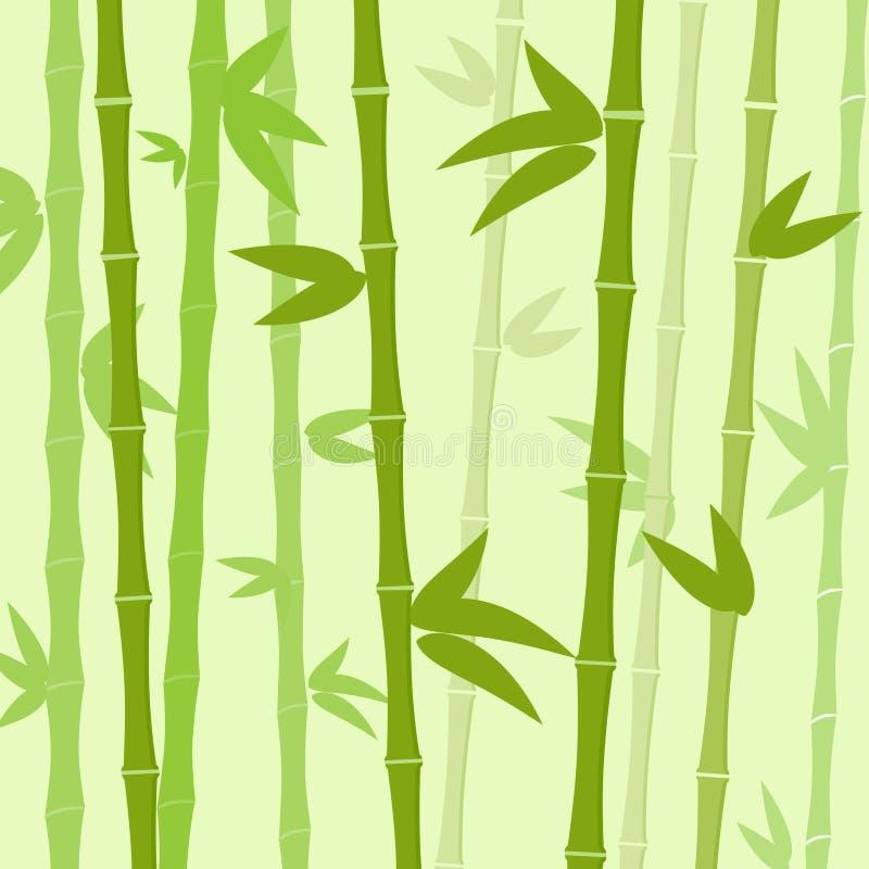 Grön vektor för lägenhet för bakgrund för bambuträdsidor stock illustrationer