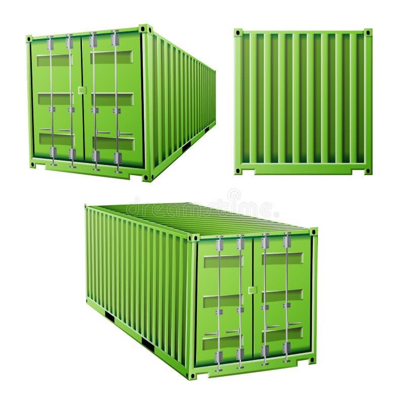 Grön vektor för lastbehållare 3D Fraktsändningsbehållarebegrepp Logistik trans.åtlöje upp Isolerat på stock illustrationer