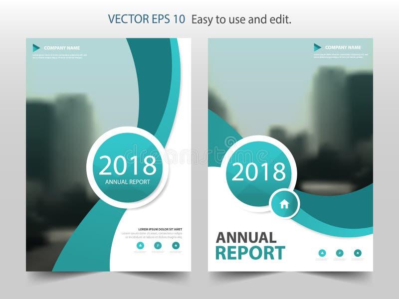 Grön vektor för mall för design för broschyr för kurvcirkelårsrapport Affisch för tidskrift för affärsreklamblad infographic stock illustrationer
