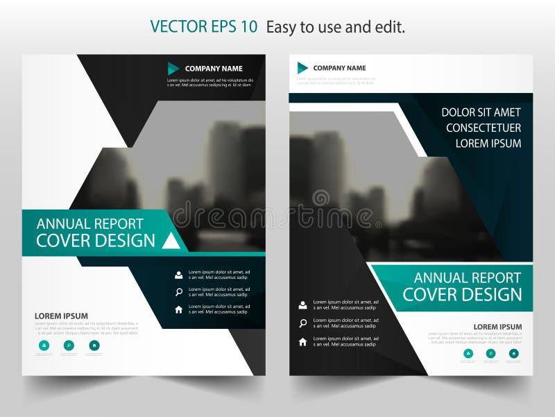 Grön vektor för mall för design för broschyr för triangelabstrakt begreppårsrapport Affisch för tidskrift för affärsreklamblad in royaltyfri illustrationer